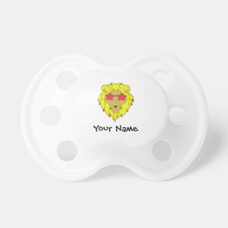 Lion with pink glasses customizer pacifier