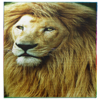 Lion With Rainbow Border Napkin