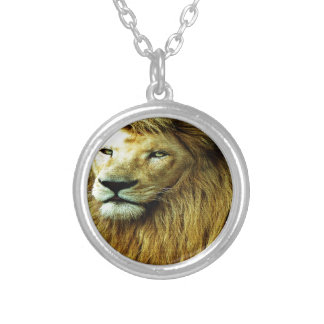 Lion With Rainbow Border Silver Plated Necklace