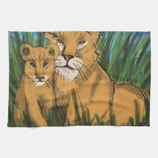 Lioness and Cub Print Kitchen Towel