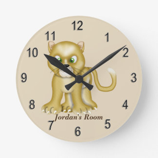 Lioness,cute+Lioness,kids,kids+bedroom+personalize Round Clock