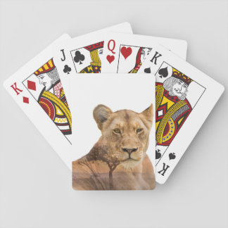 Lioness Double Exposure Playing Cards