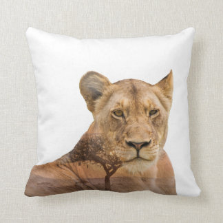 Lioness Double Exposure Throw Pillow