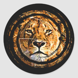 LIONESS FACE CLASSIC ROUND STICKER