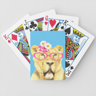 Lioness funny cute adorable animal girl bicycle playing cards