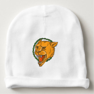 Lioness Growling Ring Leaves Tattoo Baby Beanie