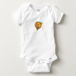 Lioness Growling Ring Leaves Tattoo Baby Onesie