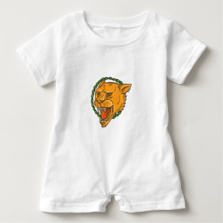 Lioness Growling Ring Leaves Tattoo Baby Romper