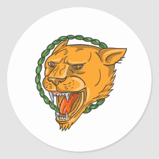 Lioness Growling Ring Leaves Tattoo Classic Round Sticker