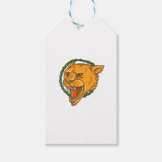 Lioness Growling Ring Leaves Tattoo Gift Tags