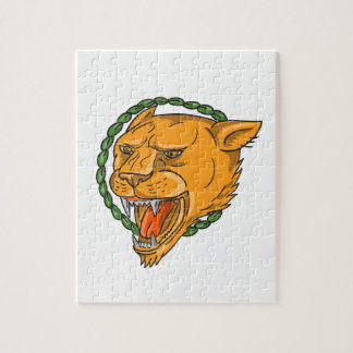 Lioness Growling Ring Leaves Tattoo Jigsaw Puzzle