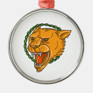 Lioness Growling Ring Leaves Tattoo Metal Ornament