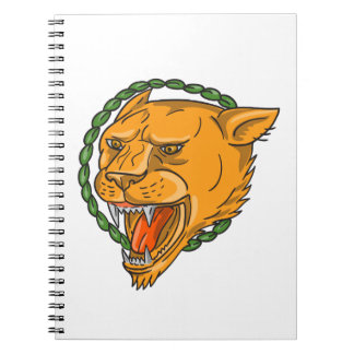 Lioness Growling Ring Leaves Tattoo Notebook