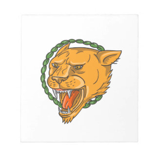 Lioness Growling Ring Leaves Tattoo Notepad