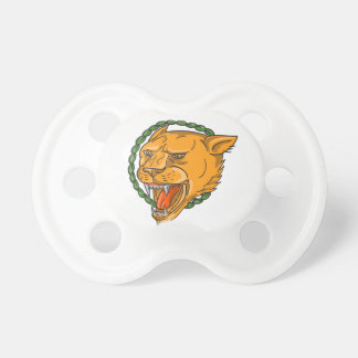 Lioness Growling Ring Leaves Tattoo Pacifier