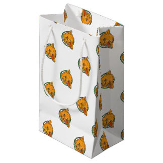 Lioness Growling Ring Leaves Tattoo Small Gift Bag