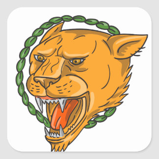 Lioness Growling Ring Leaves Tattoo Square Sticker