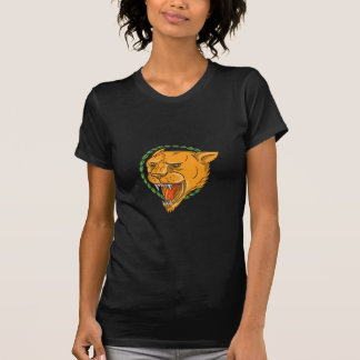 Lioness Growling Ring Leaves Tattoo T-Shirt