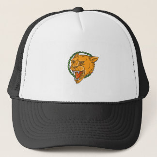 Lioness Growling Ring Leaves Tattoo Trucker Hat