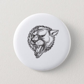 Lioness Growling Rope Circle Tattoo 2 Inch Round Button