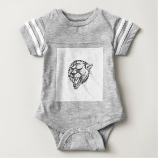 Lioness Growling Rope Circle Tattoo Baby Bodysuit