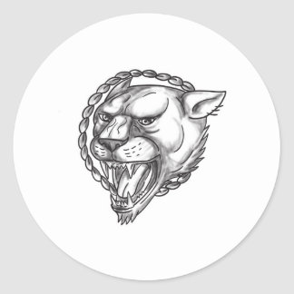 Lioness Growling Rope Circle Tattoo Classic Round Sticker