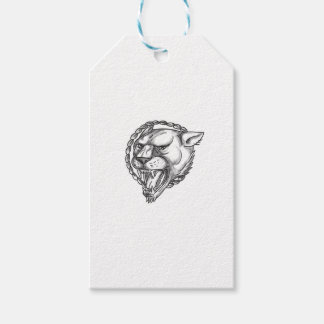 Lioness Growling Rope Circle Tattoo Gift Tags