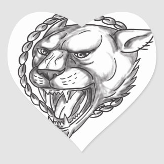 Lioness Growling Rope Circle Tattoo Heart Sticker