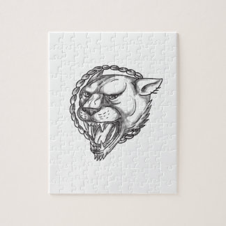 Lioness Growling Rope Circle Tattoo Jigsaw Puzzle