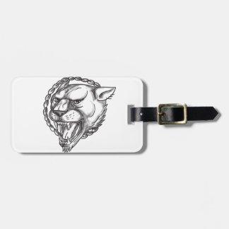 Lioness Growling Rope Circle Tattoo Luggage Tag