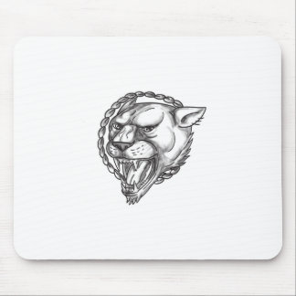 Lioness Growling Rope Circle Tattoo Mouse Pad