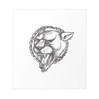 Lioness Growling Rope Circle Tattoo Notepad