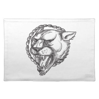 Lioness Growling Rope Circle Tattoo Placemat