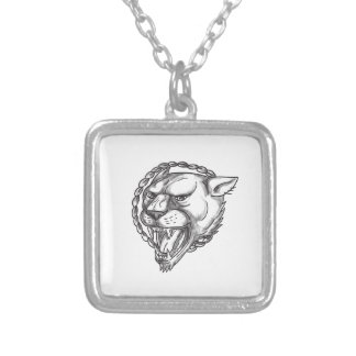 Lioness Growling Rope Circle Tattoo Silver Plated Necklace
