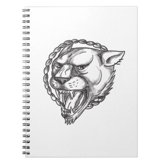 Lioness Growling Rope Circle Tattoo Spiral Note Book