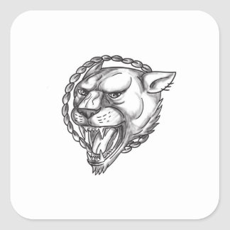Lioness Growling Rope Circle Tattoo Square Sticker