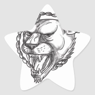 Lioness Growling Rope Circle Tattoo Star Sticker