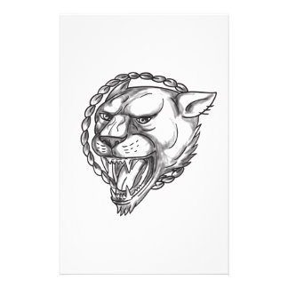 Lioness Growling Rope Circle Tattoo Stationery