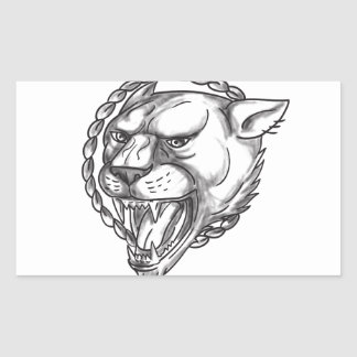 Lioness Growling Rope Circle Tattoo Sticker
