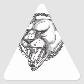Lioness Growling Rope Circle Tattoo Triangle Sticker