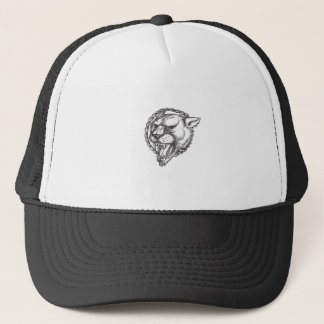Lioness Growling Rope Circle Tattoo Trucker Hat