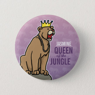 Lioness Queen of the Jungle, Add Child's Name 2 Inch Round Button