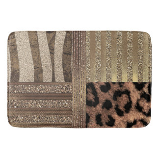 Lioness Safari Chic Jungle Gold Modern Sparkle Bath Mat