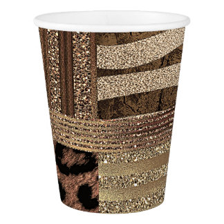 Lioness Safari Jungle Glam Modern Gold Sparkle Paper Cup