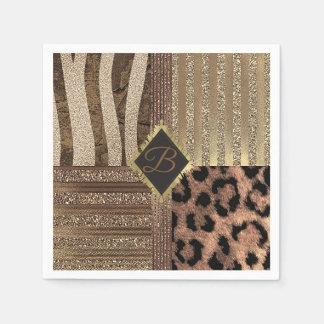 Lioness Safari Jungle Glam Modern Gold Sparkle Paper Napkin