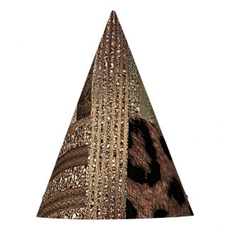 Lioness Safari Jungle Glam Modern Gold Sparkle Party Hat
