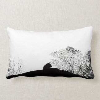 Lioness Silhouette cushion in black and white