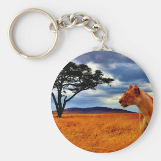 Lioness Storm Basic Round Button Keychain