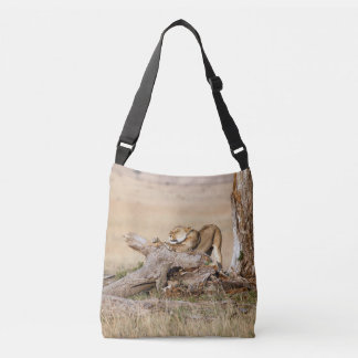 Lioness stretching crossbody bag