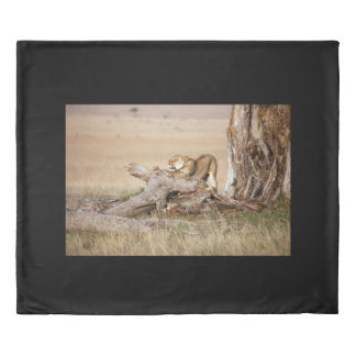Lioness stretching duvet cover
